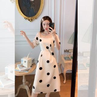 女法式优雅方领连衣裙收腰显瘦波点裙子2019年新款流行小个子长裙女小香风