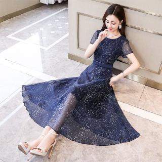 2019流行春夏女装新款韩版气质修身复古港味连衣裙