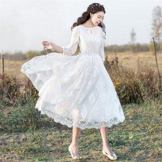2019夏装新款女装蕾丝绣花网纱中长款连衣裙