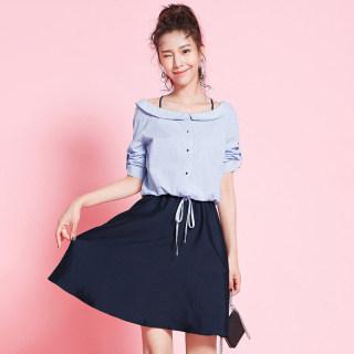 秋季女装新款时尚一字领条纹衬衫休闲款衬衣连衣裙女