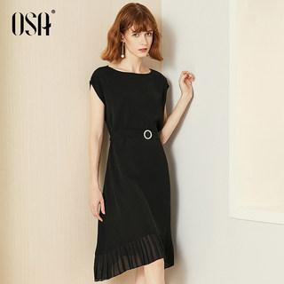 黑色连衣裙女2019新款夏收腰长款气质显瘦过膝智熏裙复古
