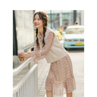 秋季复古文艺针织毛衣背心马甲连衣裙两件套中长款雪纺