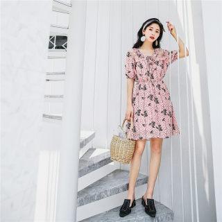 韩版蕾丝雪纺碎花连衣裙女士夏装2019新款夏季气质甜美裙子沙滩裙