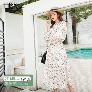 波点chic心机裙韩版雪纺连衣裙女士夏装2018新款外套裙子及踝长裙