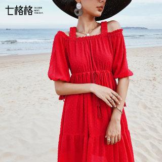 法式复古裙2019新款夏季女装维多利亚裙很仙吊带露肩连衣裙