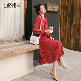 红色雪纺连衣裙春装2019新款女法式复古裙子中长款格子