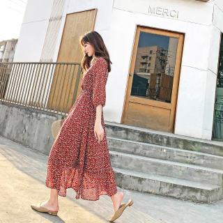 高腰连衣裙2019新款夏季洋气长裙子女很仙小清新碎花雪纺裙