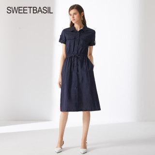 2019春夏新款韩版衬衫领短袖收腰中长裙亚麻气质淑女连衣裙女