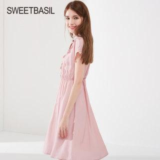 2019夏新款法式复古收腰显瘦中长款蕾丝polo翻领女裙子连衣裙