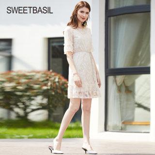2019夏季新款显瘦连衣裙气质超仙蕾丝两件套中长款白色裙子女
