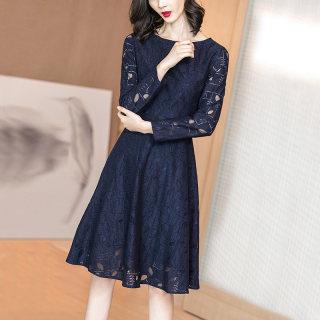 2019秋季新款气质知性优雅蓝色蕾丝镂空收腰显瘦长袖连衣裙