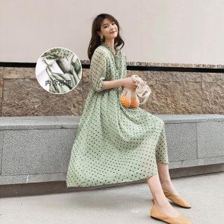 雪纺吊带连衣裙两件套女装2019新款夏季气质小清新波点裙子