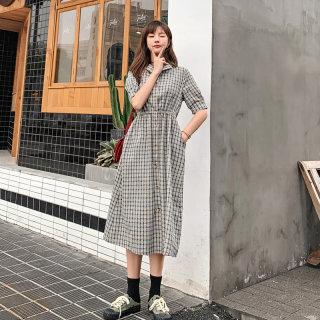 连衣裙女2019新款夏季格子长裙学生韩版收腰气质短袖裙子潮