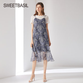 2019春夏新款吊带连衣裙假两件裙子法国复古雪纺印花长裙