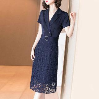 2019夏季新款气质名媛收腰显瘦蕾丝拼接中长款OL时尚连衣裙