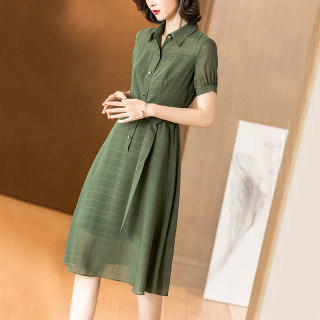 2019夏季新款小清新绿色格纹系带收腰显瘦衬衫裙短袖连衣裙