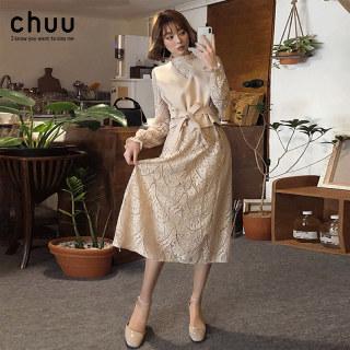 蕾丝连衣裙女秋冬季2018新款韩版毛呢背心小香风中长款两件套裙子