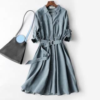 气质简约百搭款双口袋设计腰带收腰显瘦衬衫领长袖连衣裙
