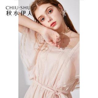 连衣裙2019夏装新款女装一字领蝴蝶袖修身系带裙子