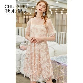 连衣裙2019夏新款女装简约时尚网纱半高领很仙的裙子女