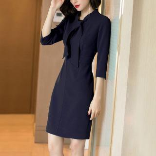 秋季新款气质甜美系带藏青色修身显瘦百七分袖连衣裙女