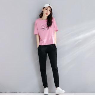 【长裤T恤两件套】夏季2019新款粉色运动休闲套装