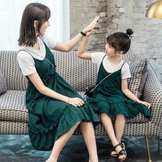 白T恤+吊带裙亲子母女装2019夏装新款两件套装