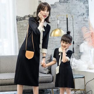 亲子装母女装洋气2019夏装新款韩版撞色娃娃领中长款针织连衣裙女