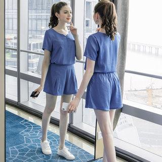 2019夏季新款大码女装200斤胖妹妹时尚宽松短款休闲运动套装