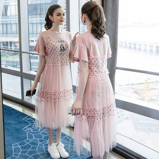 2019夏季新款大码女装200斤胖妹妹遮肚显瘦减龄时尚休闲套装