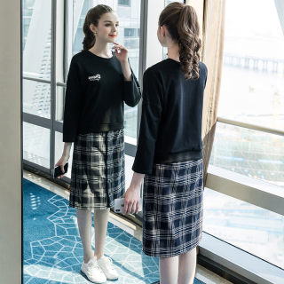 2019秋季新款大码女装200斤胖妹妹时尚休闲宽松格子套装裙