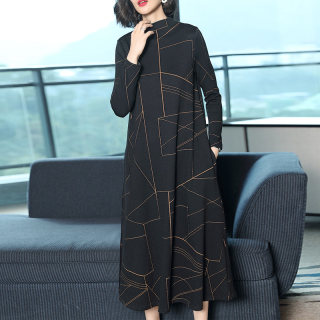 2019秋装新款女韩版宽松长袖条纹长款气质连衣裙