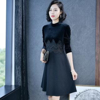 时尚小黑裙秋装2019新款女士裙子长袖修身气质蕾丝拼接裙