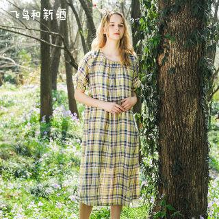 夏新款亚麻色织格风格连衣裙