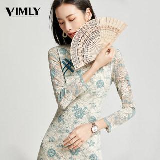 中国风改良版旗袍连衣裙女中长款春秋装年轻款修身蕾丝裙子