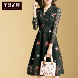 蕾丝连衣裙女2019新款时尚刺绣印花中长款时尚大摆裙子