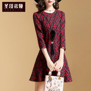 春装2019新款女装时尚连衣裙修身显瘦红色秋冬印花打底裙子