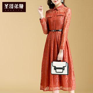 蕾丝连衣裙女长袖2019新款女装收腰显瘦气质中长款衬衫领