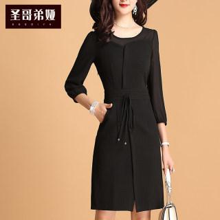 连衣裙女2019新款夏装雪纺拼接收腰显瘦气质七分袖打底裙