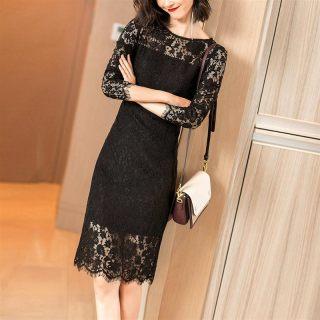 2019春装新款气质知性优雅黑色蕾丝镂空拼接长袖连衣裙