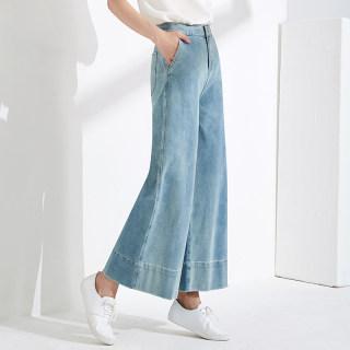 女棉质宽松显瘦遮赘肉泫雅风减龄九分牛仔阔腿裤