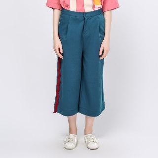 秋季新品撞色拼条健康布阔腿裤
