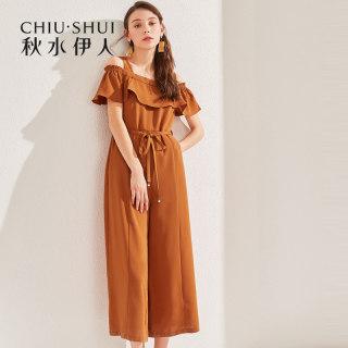 裤子2019夏装新款女装纯色一字肩吊带修身宽松连体裤