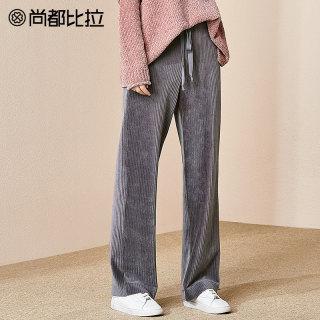 显瘦休闲裤系带复古灯芯绒长裤阔腿裤