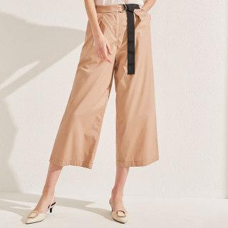商场同款休闲裤2019夏装新款女装宽松阔腿裤显瘦织带裤子