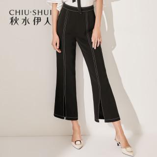 裤子新款女装2019夏装中腰纯色韩版修身九分开叉微喇裤