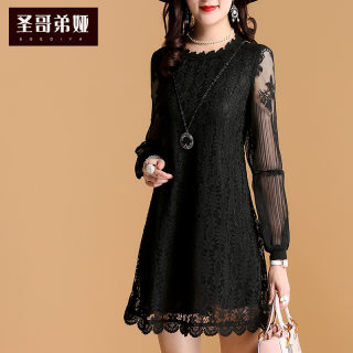 蕾丝连衣裙女2019新款长袖黑色收腰显瘦泡泡袖韩版打底裙