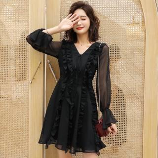 2019流行裙子女气质小黑裙V领系带木耳边雪纺连衣裙女