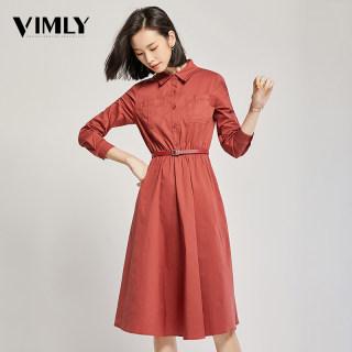红色复古连衣裙女中长款过膝春秋装新款气质收腰显瘦衬衫裙