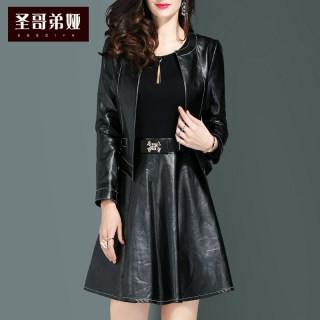 皮裙女2019新款长袖修身显瘦气质收腰a字裙韩版时尚套装